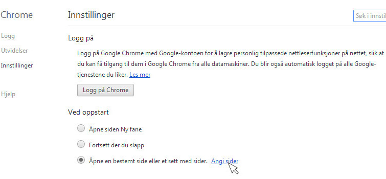 sette som startside Google Chrome 2
